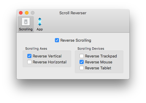 Scroll Reverser Screenshot for macOS