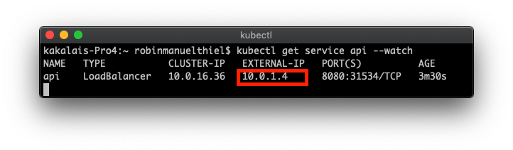 Console output of the Console output of the kubectl get service command showing the IP address 10.0.1.4