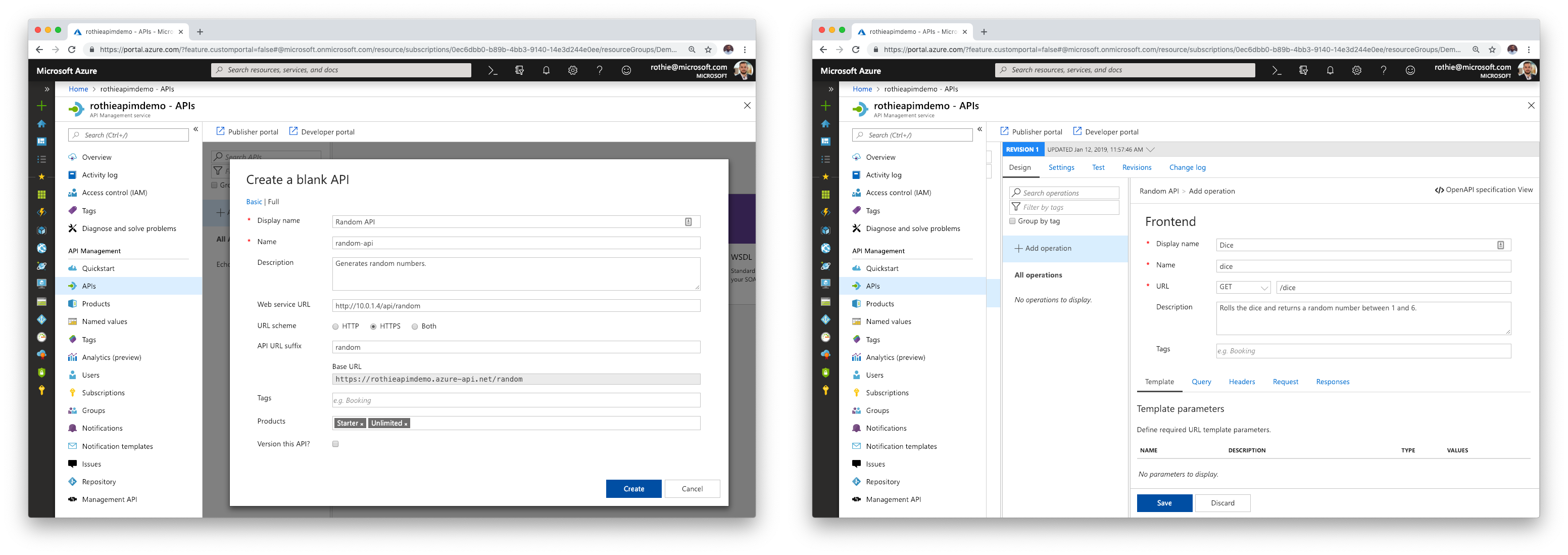 Two screenshots of creating a new API in API Management and creating a new GET operation in it.